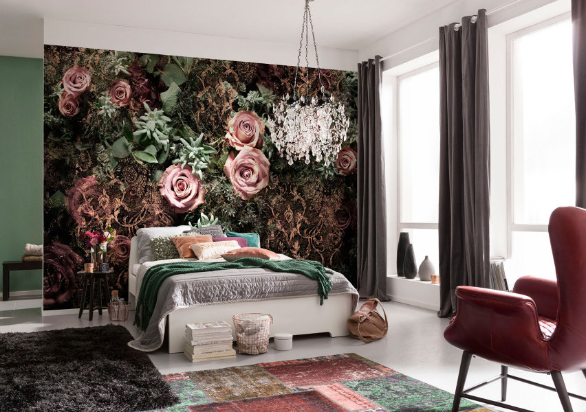 фотообои в интерьере спальни розы фото